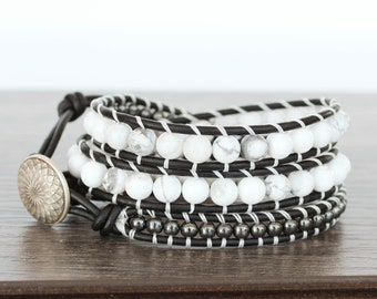 White Wrap Bracelet • Layered Wrap Bracelet • Boho Wrap Bracelet Leather • Triple Wrap Bracelet • Gemstone & Leather Wrap Bracelet • 3XWH007