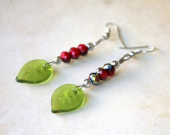 Green leaves and Red faceted earrings