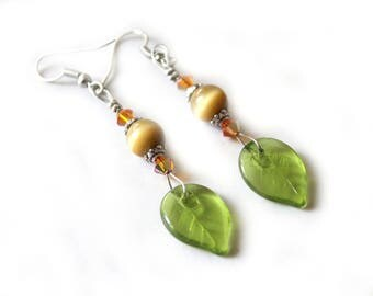 Spring earrings orange and khaki Green