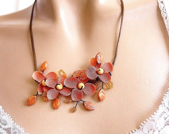 Orange and Brown floral jewelry necklace