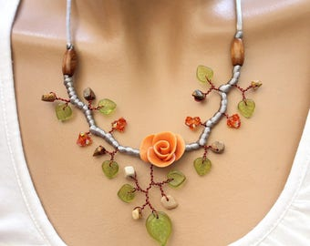 """Custom"" orange and green floral necklace"