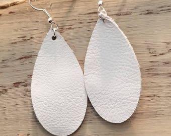 White Tear Drop Genuine Leather Earrings