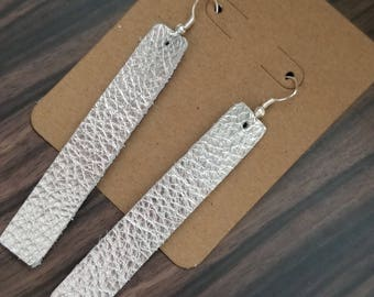 Metallic Rectangle Genuine Leather Earrings