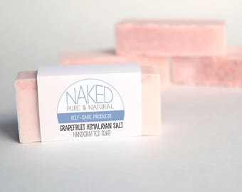 Handcrafted Soap, Grapefruit Essential Oils Soap, Himalayan Salt, Goats Milk Soap, Detoxifying Soap, Unique Spa Gift, Naked Pure and Natural