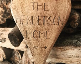 Chunky Personalised Hanging Wooden Heart Surname Home