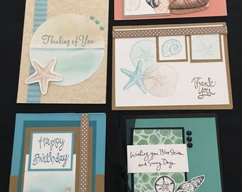 Seashell Greeting Cards (Set of 5) Group A