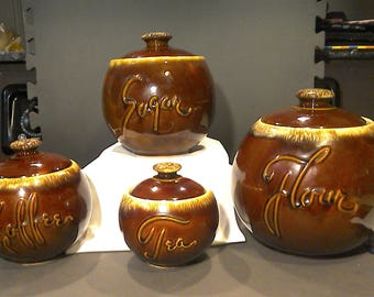 Vintage Hull Pottery Brown Drip Canister Set