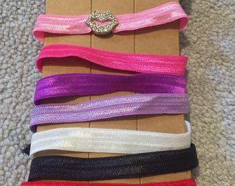 Lip rhinestone charm hair tie