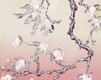 Kozyndan, Bunny Blossom, Limited Edition, Print, Art, Giclee, Signed