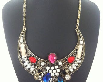 Crystal Ruby Stone Jewels Necklace