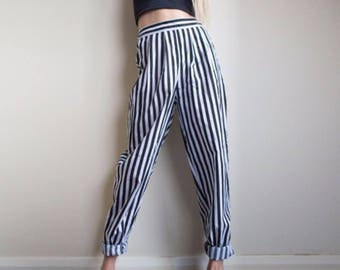 Handmade Beetlejuice Mom Trousers in Black and White Stripe