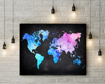 Canvas world map etsy colorful watercolor world map poster or canvas world map wall art detailed print push gumiabroncs Choice Image