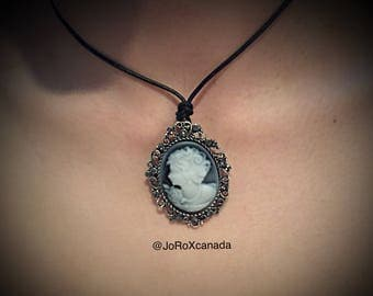 Black Gey and White Cameo Necklace