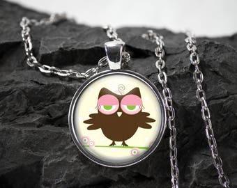 Owl Glass Pendant owl necklace owl jewelry owl gift photo pendant art pendant photo jewelry art jewelry glass jewelry