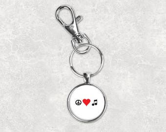 Music keychain peace love music keychain musician keychain music gift wedding party gift mens keychain custom photo keychain