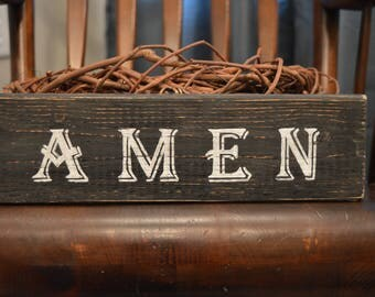 Handmade Reclaimed Pallet Wood AMEN Sign