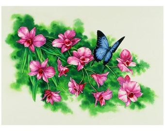 Cooktown Orchid and Blue Ulysses Butterfly Archival Quality Print, Watercolour Painting
