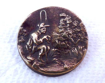Antique Uncommon Fisherman Sporting Button of 1 Piece Pressed Metal