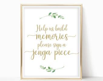 Jenga Guest Book Sign Wedding Jenga Sign Jenga Wedding Sign Guest Book Alternative Building Memories Sign Guestbook 8x10,5x7,4x6 Jasmine