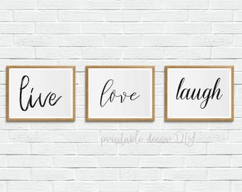 Live, laugh, love printable, above bed decor, printable bed room wall art, printable bedroom poster, above the bed decor, above the bed art