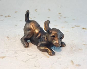 Bronze Puppy Dog Sculpture - Dog Statue - Dog Figurine - Animal Bronzes - Miniature Puppy - Pet Lover Gift - Dog Collectable - Canine Decor