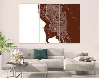 Provo Utah, City Map, Large Canvas Print, Wall Art, Multi panel