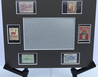 Peru 8x10 photo mat frame featuring vintage Peruvian postage stamps