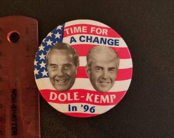 1996 Bob Dole Jack Kemp TIME FOR A CHANGE  Campaign Button