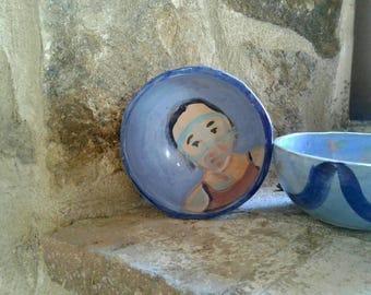 Ceramic bowl. handmade ceramic bowl, illustrated and painted