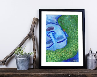 Sleeping Deva (2017) original abstract painting female woman goddess A5 picture with mount unframed