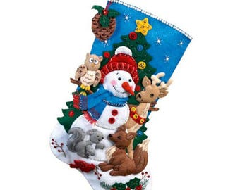 Pre-order 2018 Finished Bucilla Woodland Snowman Christmas stocking