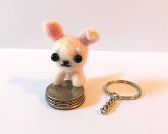 Mini Cream White Dog Plush | Needle Crafted Gift | Cute Keychain