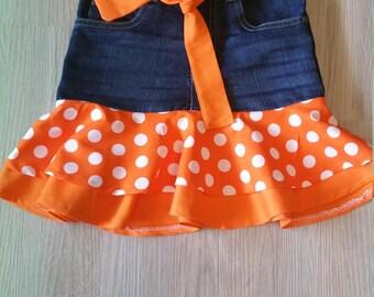 Size 6 Denim Orange PolkaDot Skirt