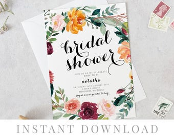 Wreath Bridal Shower Invitation INSTANT DOWNLOAD, Hens Night Invite, DIY Printable, Templett, Editable, Rustic Invites, Orange, Breeze