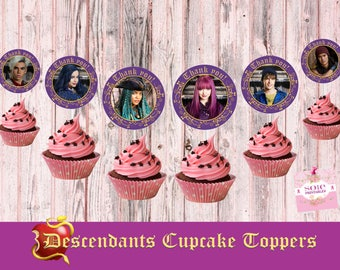 Descendants 2 Cupcake Toppers 6 characters  Mal, Evie, Uma, Ben, Carlos and Jay-Thank you Toppers! -Instant Download!