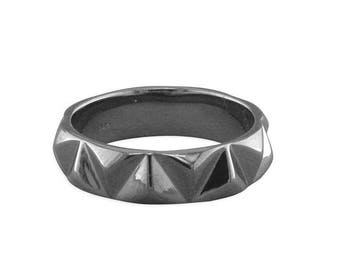 Black Rhodium Geometric Band Sterling Silver Ring