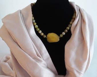 Beautiful handmade Christmas present for her w/ Green & Yellow Agate Gemstone.