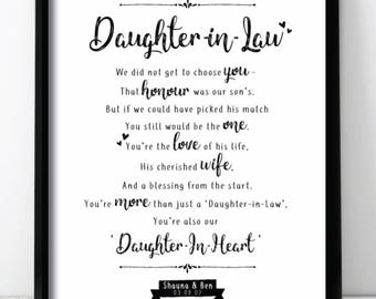 Daughter In Law Wedding Day Gift Wall Print