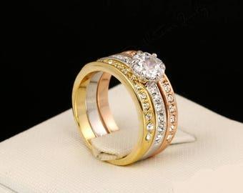 Woman ring, 3 rings, elegant ring, fashion, Original gift, Engagement, love, marriage, hypoallergenic ring