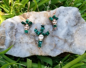 Malachite cactus with howlite skull earrings and necklace set
