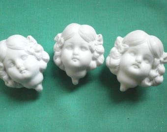 three dollhouse doll socket heads, bisque/antique/unpainted/Thuringia/Germany