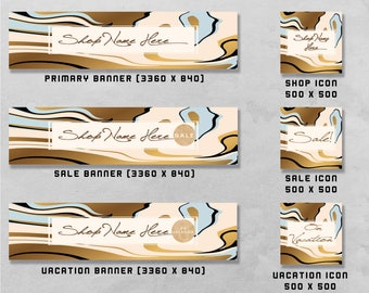 Premade Banner and Icon Set for Etsy and Facebook, Shop Front / Cover Image, Business Design / Advertising.