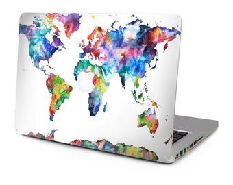 Macbook air sticker etsy colourful world map continent vinyl sticker skin decal cover top case for apple macbook pro gumiabroncs Image collections