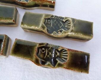 "1289 :""Hashi-Oki"" Chopstick Rests set 5,Vintage ArtCraft Chopstick Rests,Japanese ceramic Chopstick Holders HashiOki,Handcrafted in Japan"