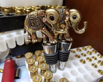 Wine bottle stopper 45 caliber bullet casing eyes on elephants
