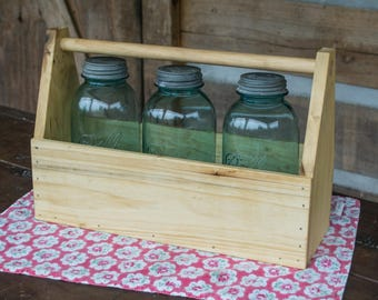 Wooden Tooolbox Tote Farmhouse Style