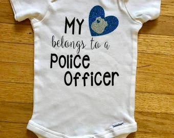 My heart belongs to a police officer girls bodysuit, police bodysuit, baby girls clothing