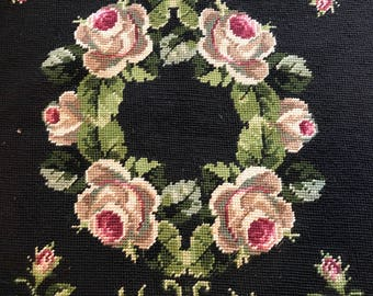 Gorgeous Large Scale Floral Wreath Vintage Needlepoint