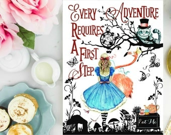 Watercolor Alice in Wonderland with quote Every adventure requires a first step.