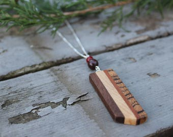 Wood Necklace Minimalist Jewelry Handmade Jasper Necklace Stone Wooden Jewelry Gift for Her Natural Wood Necklace Jewelry Unique Handmade